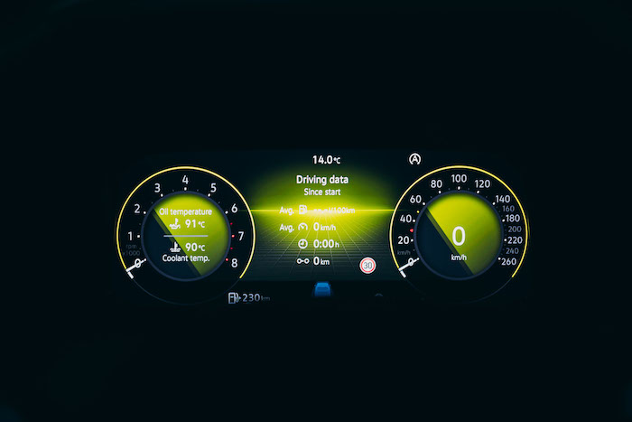Digital driver display in the new eight generation Volkswagen Golf
