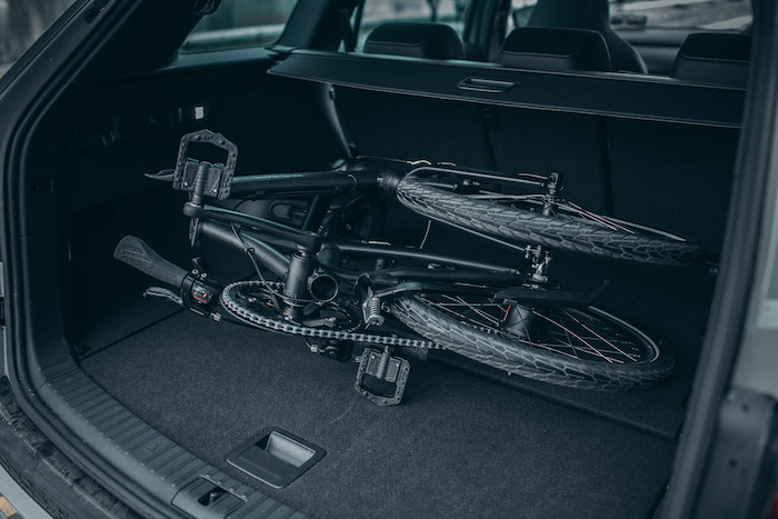 Folding bicycle in car boot